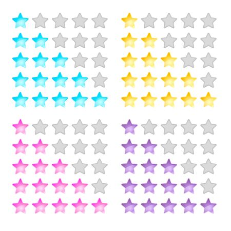 vector illustration, stars, rating, levels of difficulty, yellow pink purple blue Illustration