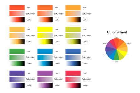 Ilustración vectorial de círculo de color, tono, saturación, valor, infografía, rojo, verde azul amarillo naranja púrpura Foto de archivo - 79661421