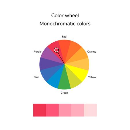Ilustración vectorial de círculo de color, infografía, paleta, color monocromático Foto de archivo - 80154920