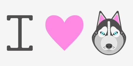 vector illustration, print i love dog husky, heart Illustration