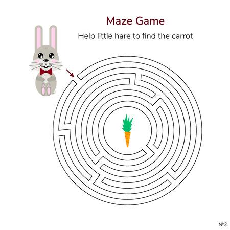 illustrazione vettoriale. gioco per bambini. labirinto circolare o labirinto per bambini. cartone animato carino lepre e carota. Vettoriali