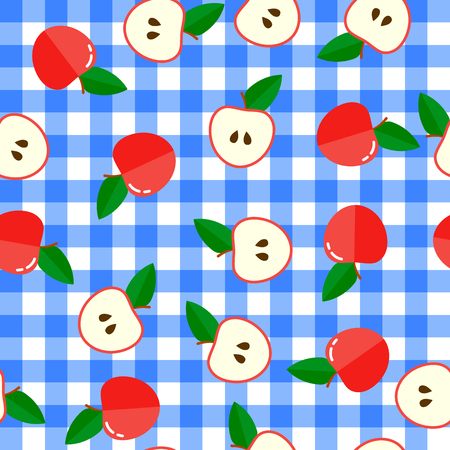 flat vector illustration. seamless pattern. background with red apples and halves. Blue-white checkered