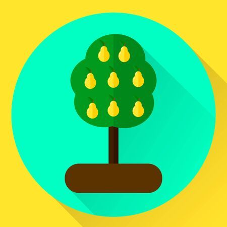 vector illustration. flat round icon tree with with yellow pears