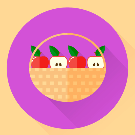 vector illustration. flat round icon with baskets of red apples and half with green leaves