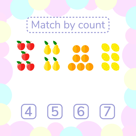 apples and oranges: vector illustration. counting game for preschool children. mathematical game. count the items in the picture and choose the right answer. rebus for children. Apples, pears, oranges, lemons.