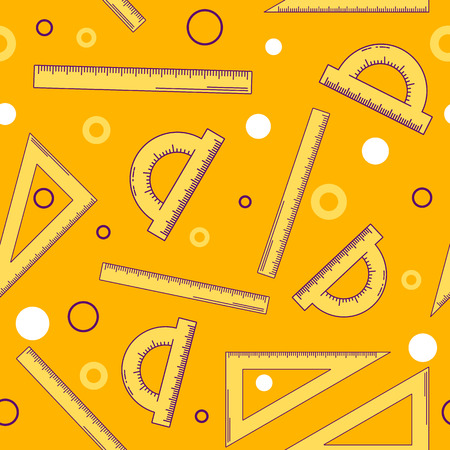 millimeters: vector illustration. seamless abstract pattern. background with a ruler, triangle and protractor. round. orange