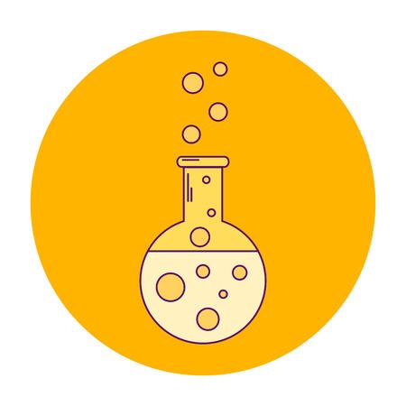 poison bottle: vector illustration orange icon flask with yellow liquids, line art, bubbles, chemical bottle Illustration