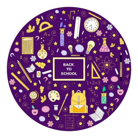 vector illustration, doodles, back to school, line art, purple background, blackboard, backpack, ruler, globe, pen, flasks light integral numbers chalk flowers notebook star spiral circle