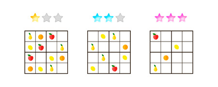 apples and oranges: vector illustration. Sudoku for kids with pictures at different levels of complexity. Logic game for preschool children. Educational game. rebus. Apples, pears, oranges, lemons.