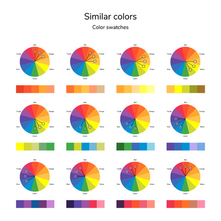 A vector illustration of a colored circle, analogous color, similar color, infographics, swatches.