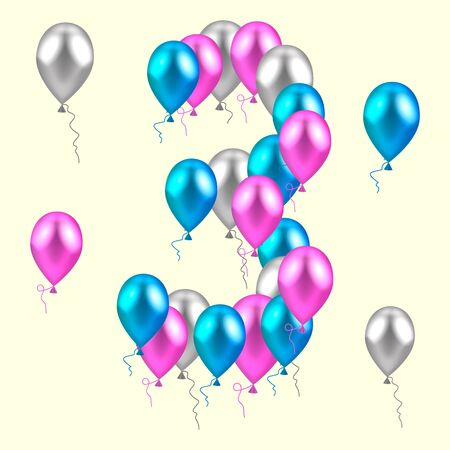 third birthday: vector illustration. realistic colored balloons on the third birthday. pink, silver, blue