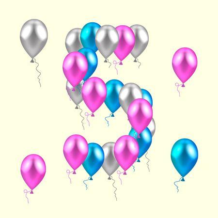 ilustración del vector. Globos de colores realistas en el quinto cumpleaños. rosa, plata, azul Ilustración de vector