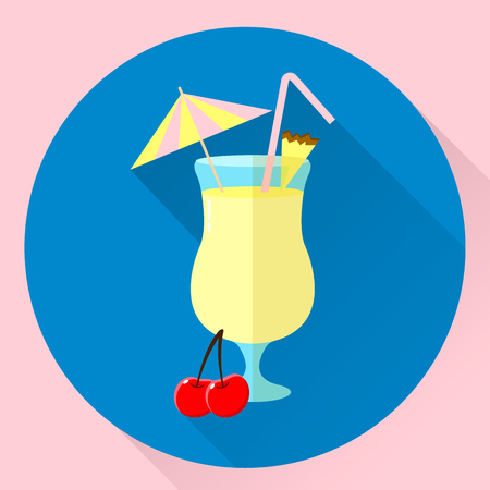 vector illustration. round flat icon, cocktail Pina colada, cherry