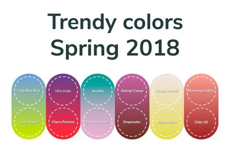 vector illustration, infographics, trendy colors, spring 2018, gradient, meadowlark, cherry tomato, little boy blue, chili oil, blooming dahlia pink lavender arcadia ultra violet emperador