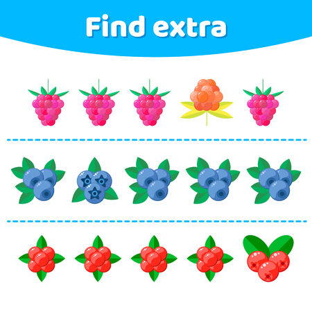 Vector illustration. Education game for preschool kids. Find extra object in sequence row. Berries.   Ilustração