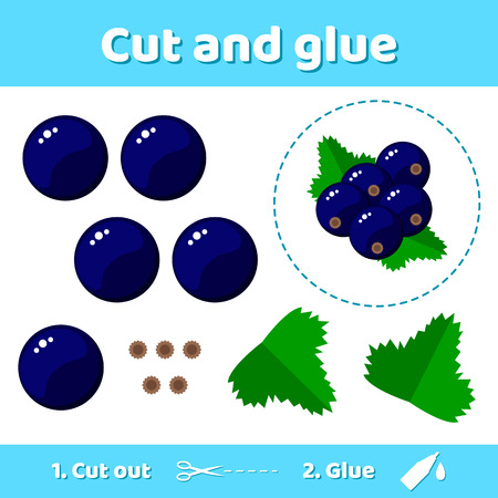 Vector illustration. Education paper game for preschool kids. Use scissors and glue to create the image. garden berries black currant. Illustration