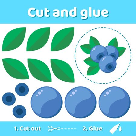 Vector illustration. Education paper game for preschool kids. Use scissors and glue to create the image. forest berry bilberries.