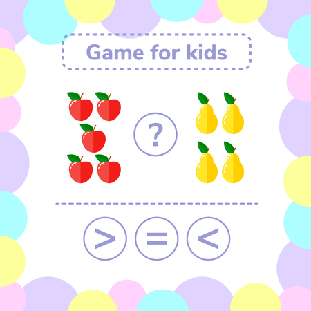 Vector illustration. Education logic game for preschool kids. Choose the correct answer. More, less or equal apples and pears.