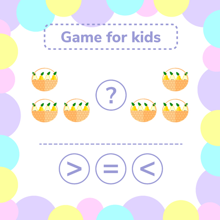 Vector illustration. Education logic game for preschool kids. Choose the correct answer. More, less or equal basket with pears. Illustration