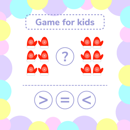 Vector illustration. Education logic game for preschool kids. Choose the correct answer. More, less or equal red mittens with snowflakes. Illustration
