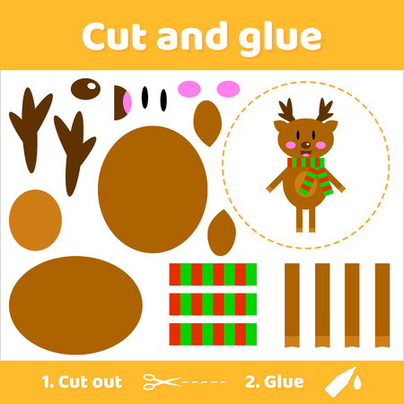 learning new skills: Vector illustration. Cute deer in scarf. Education paper game for preschool kids. Use scissors and glue to create the image.