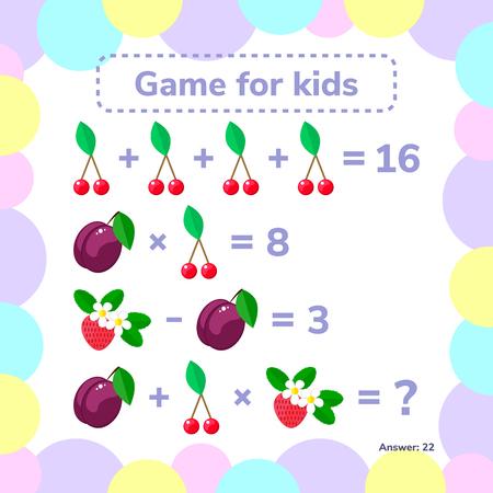 Vector illustration. Educational a mathematical game. Logic task for children. Addition, subtraction, multiplication Illustration