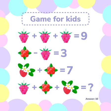 Vector illustration. Educational, a mathematical game. Logic task for children. Addition, subtraction