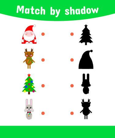 school years: vector illustration. Matching game for children. Connect the shadow. Santa Claus, reindeer, Xmas tree, rabbit