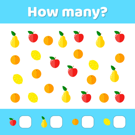 Vector illustration. Educational, a mathematical game. Counting game for children. How many.