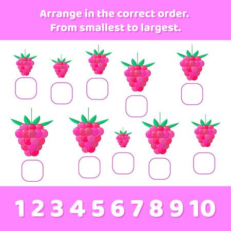 Vector illustratie Logica spel voor kleuters. Rangschik in de juiste volgorde. Van klein naar groot.