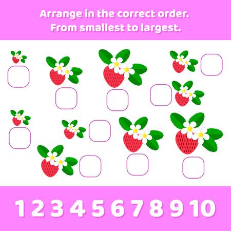 Vector illustration. Logic game for preschool children. Arrange in the correct order. From smallest to largest. 向量圖像