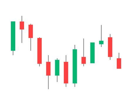 vector illustration. binary options. Green and red candle. Trade. Japanese candlestick chart in white background. 向量圖像