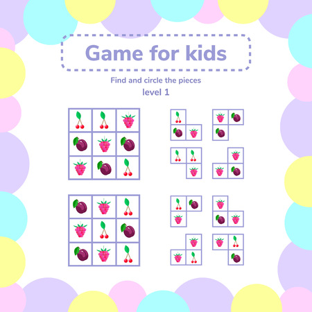 vector illustration. Puzzle game for preschool children. berries. Find and circle pieces.