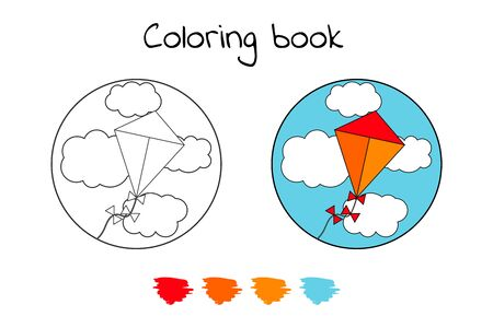 Coloring book for children. vector illustration. kite in the sky