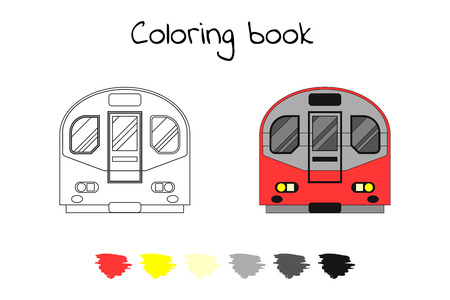 Coloring book for children. Vector illustration. subway train, metro London Çizim