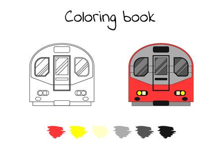 Coloring book for children. Vector illustration. subway train, metro London Illustration