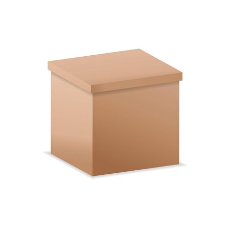 Vector illustration. realistic 3D cardboard box.