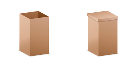 Vector illustration. realistic 3D cardboard box. mockup for desi