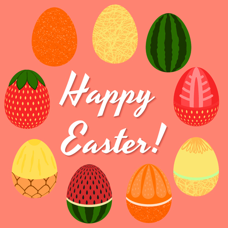 Happy Easter greetings typography with different egg fruits design.