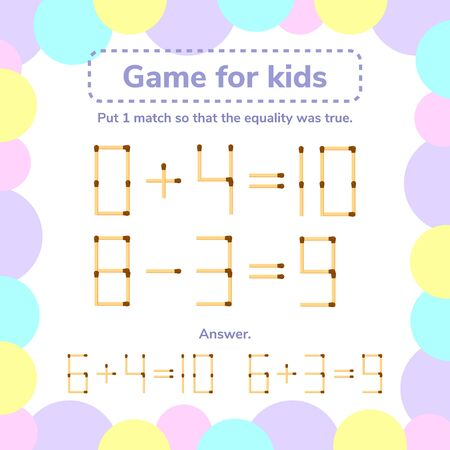 vector illustration. math game for kids. Put 1 matchstick so tha