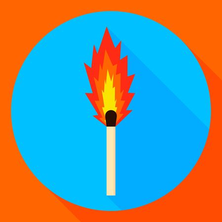 vector illustration. burning matchstick. flat round icon with shadow.