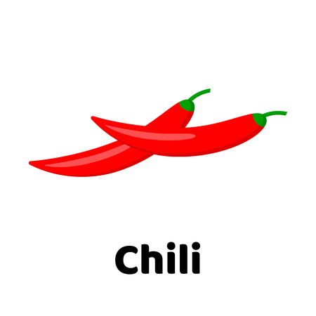 Vector illustration. Vegetable. Chili pepper on white background 일러스트