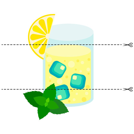 Vector illustration. A game for children of preschool age. Cut the picture into pieces. Fold in the right order. Mosaic. lemon mint cocktail, glass, ice