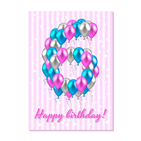 Vector illustration. Realistic colored balloons on the sixth birthday. Pink, silver and blue. Pink stripe greeting card with white stars.