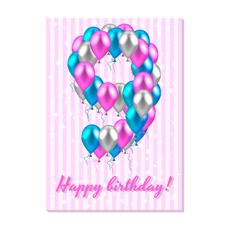 Vector illustration. Realistic colored balloons on the ninth birthday. Pink, silver and blue. Pink stripe greeting card with white stars.