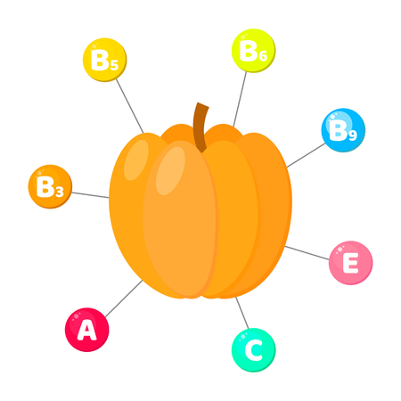 Vector illustration. Infographics. vitamins contained in vegetables. trace elements in colored circles. pumpkin