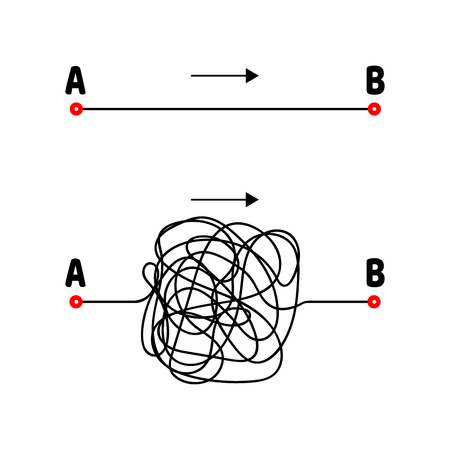 Vector illustration. The path from A to B. Straight and tangled lines. Arrow.