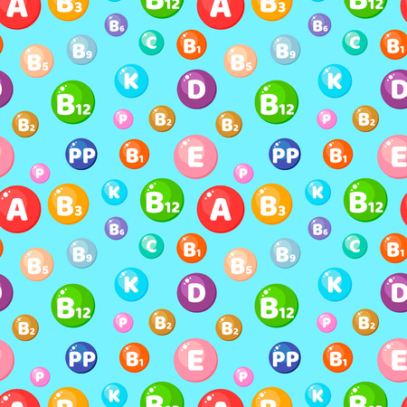 vector illustration. Seamless pattern with round colored vitamins. Background with trace elements for use in medicine and health.