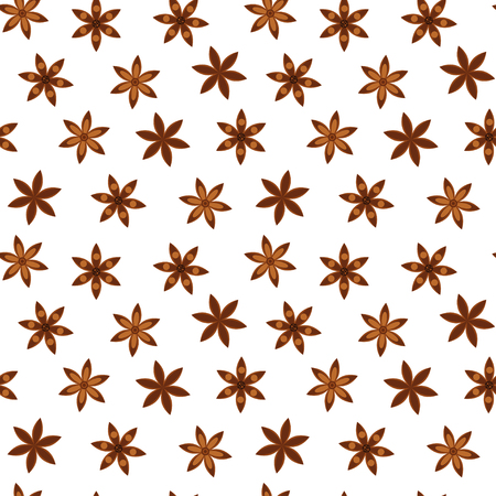 vector illustration. seamless background. Pattern with anise stars. badian.