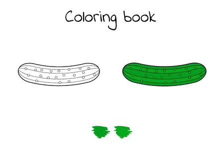 Illustration vectorielle. Jeu pour les enfants. Légume. Coloriage concombre